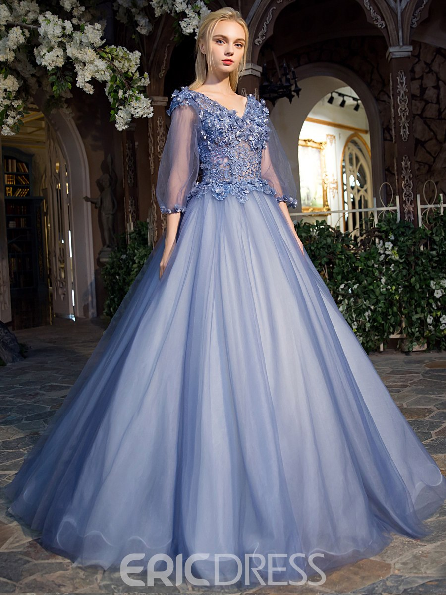Ericdress Fancy V-Neck Ball Gown Lace Pearls Floor-Length Quinceanera Dress