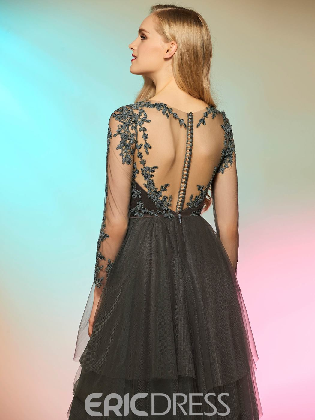 Ericdress Fancy A Line Lace Applique Floor Length Long Sleeve Prom Dress
