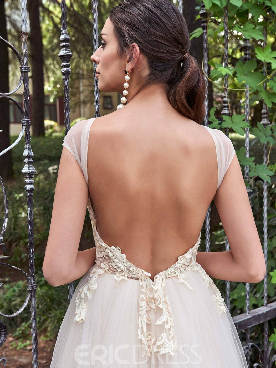 Ericdress Charming Illusion Neckline Cap Sleeves A Line Backless Wedding Dress
