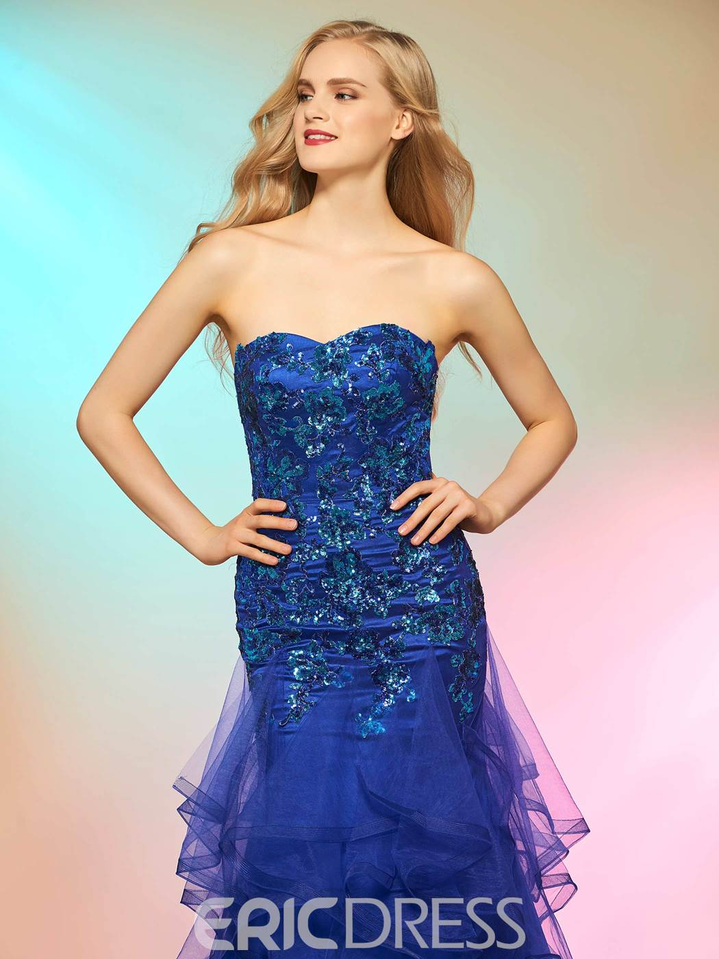 Ericdress Elegant Mermaid Sweetheart Sequin Applique Prom Dress