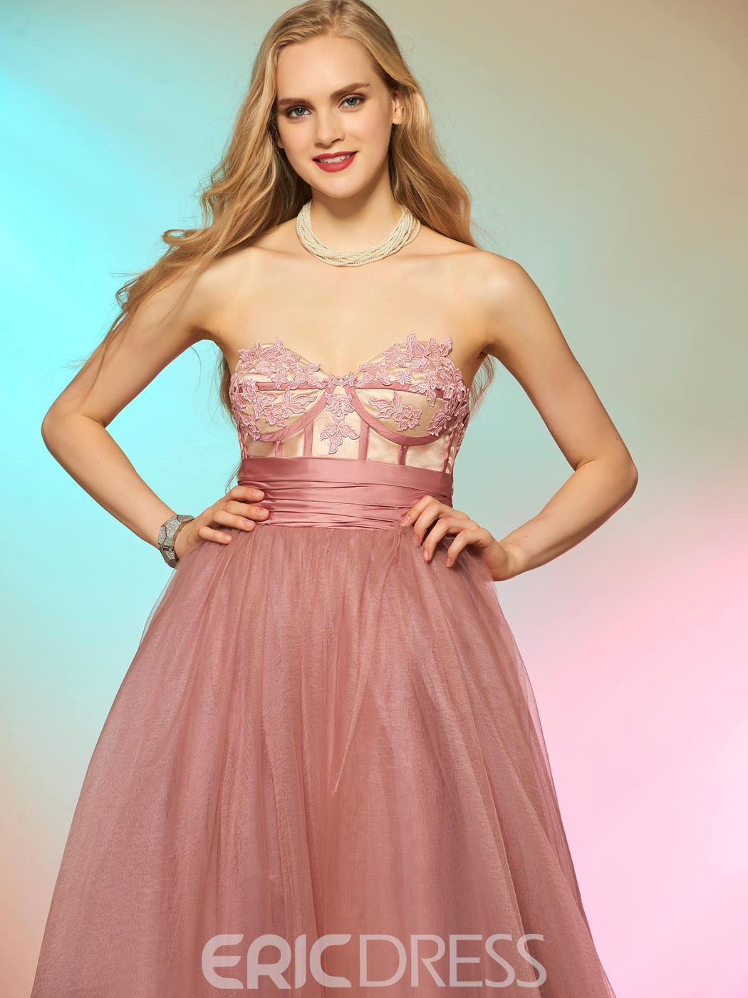 Ericdress Sweetheart A-Line Appliques Bowknot Court Train Prom Dress