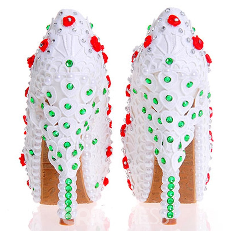 Ericdress White Rhinestone Ultra-High Heel Wedding Shoes