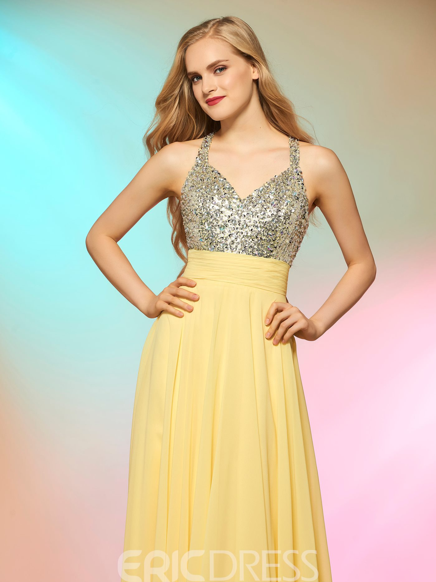 Ericdress A Line Chiffon Beaded Straps Sequin Formal Prom Party Dress