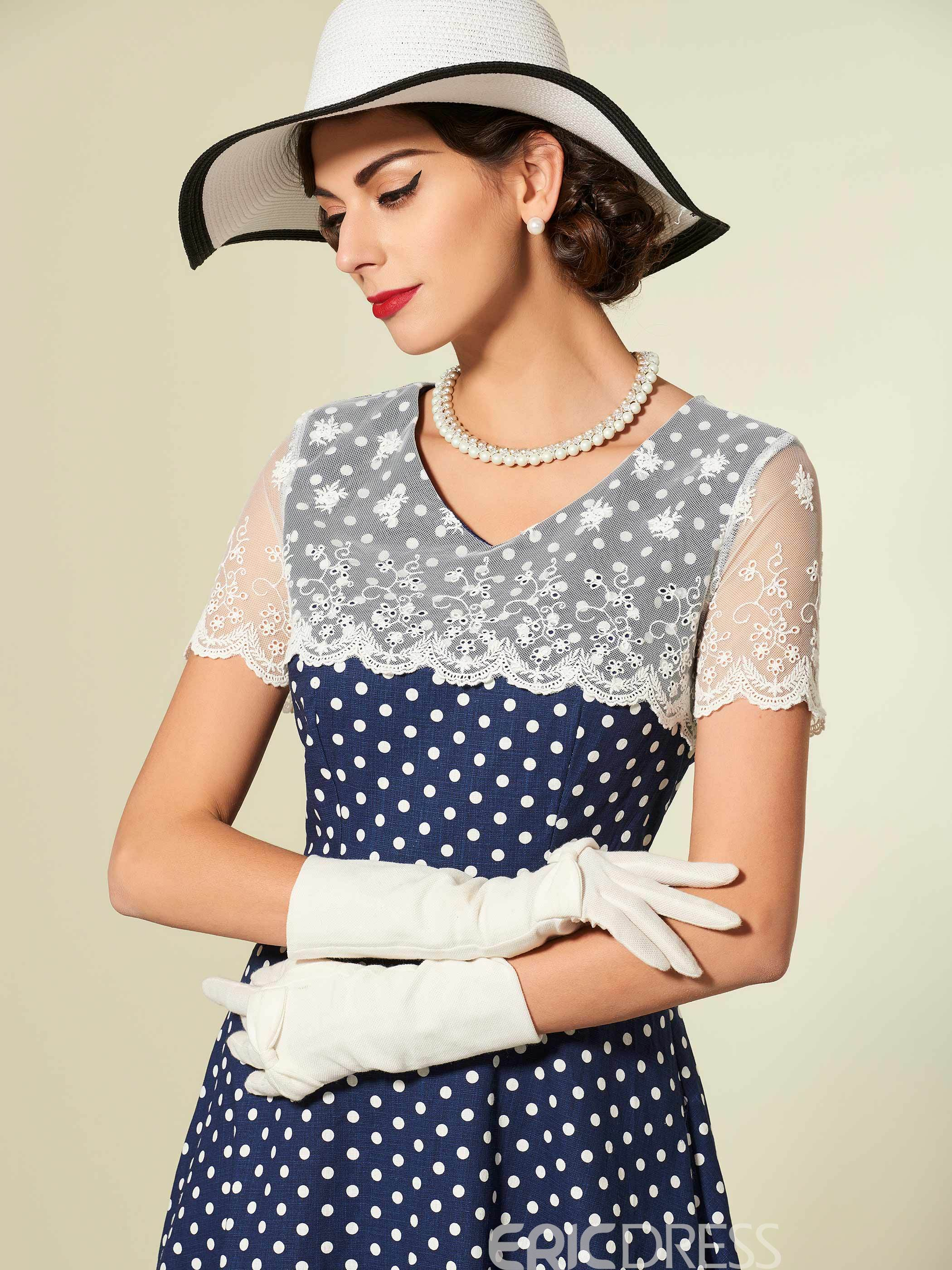 Ericdress Polka Dots Lace Patchwork Short Sleeve Maxi Dress