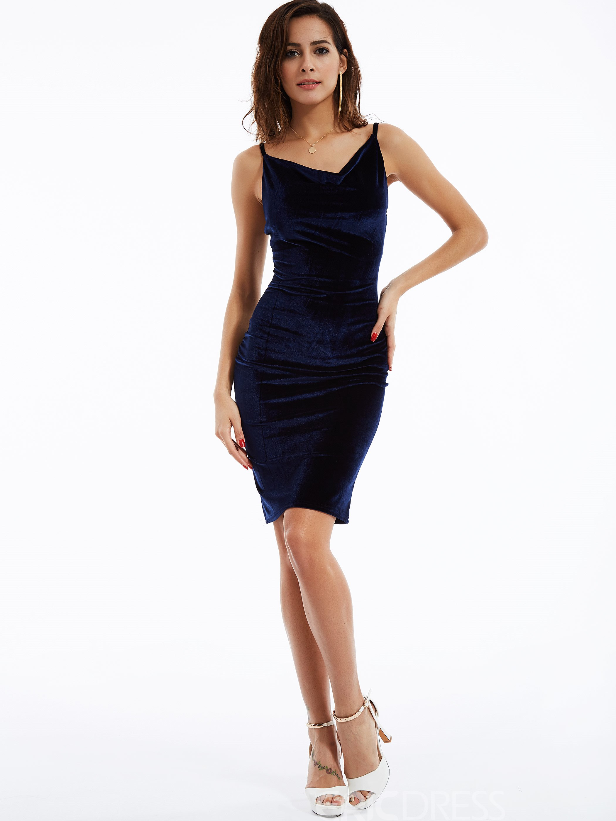 Ericdress Plain V-Neck Sleeveless Bodycon Dress