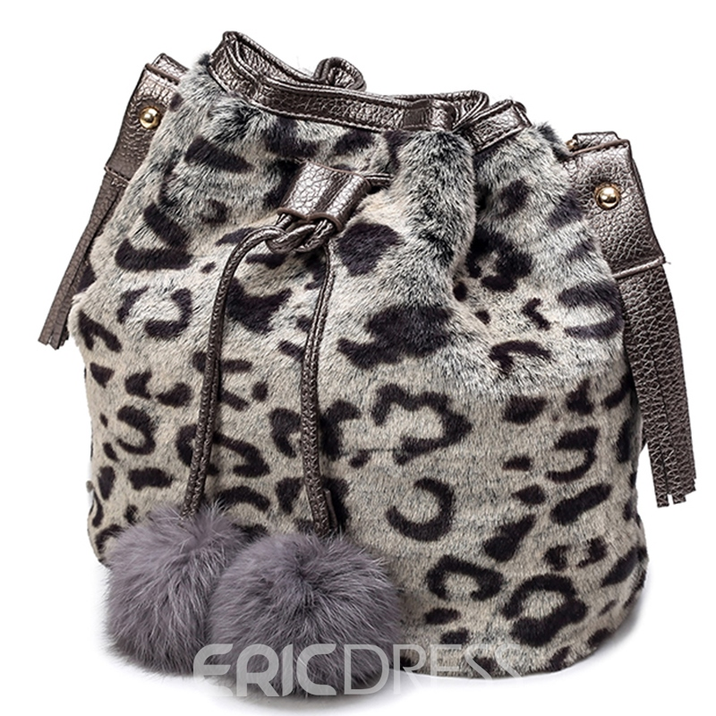 Ericdress Fuzzy Ball Faux Leather Bucket Shoulder Bag