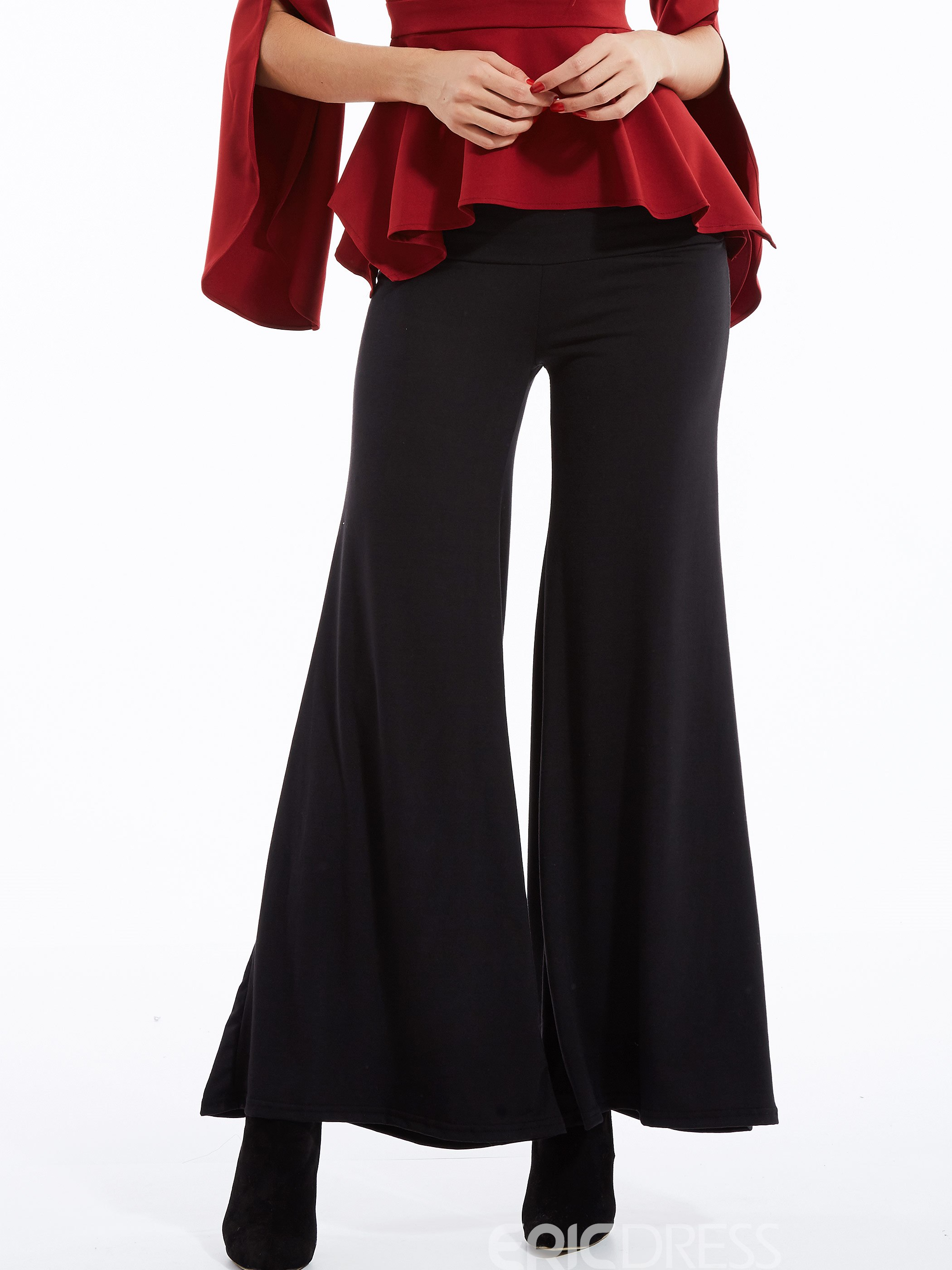 Ericdress Solid Color High-Waist Wide Legs Pants