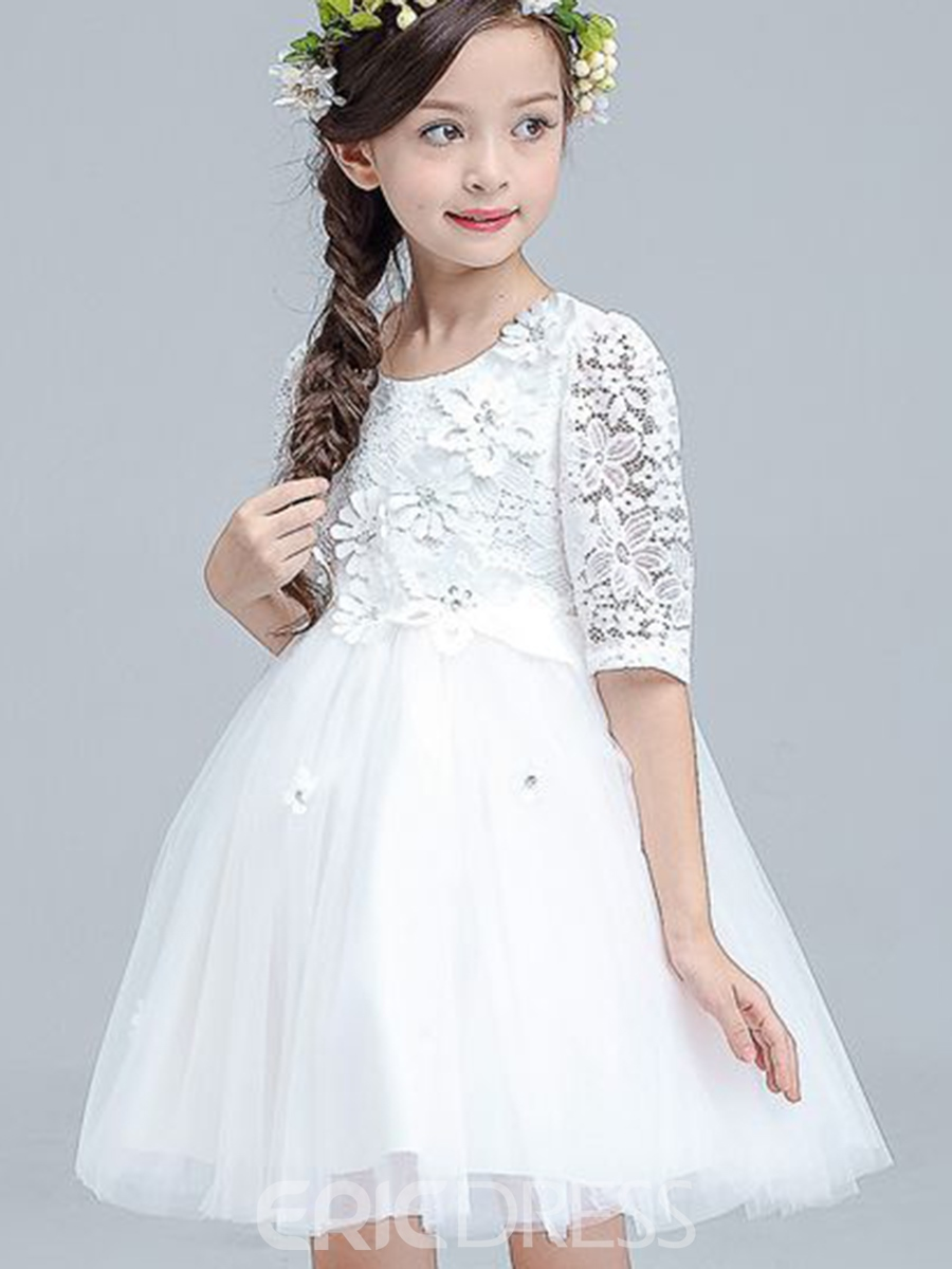 Ericdress White Floral Lace Princess TUTU Girl's Dress