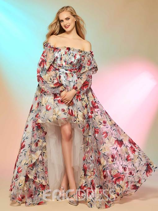 Ericdress Cinderella Asymmetry High Low Print Off The Shoulder Long Sleeve Prom Dress