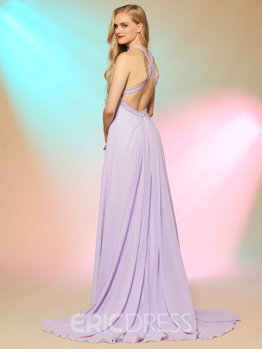 Ericdress A Line Halter Beaded Criss-Cross Straps Chiffon Long Prom Dress
