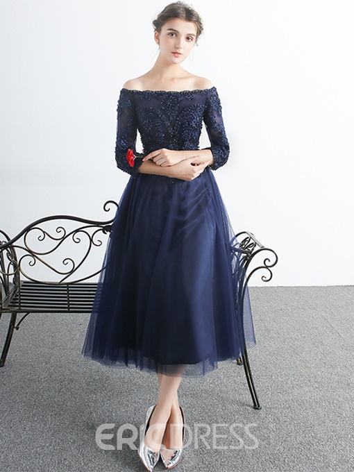 Ericdress A Line Half Sleeve Applique Lace Beaded Tea Length Prom Dress