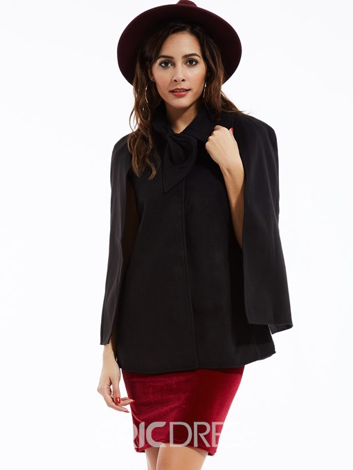 Ericdress Tie-Bow Front Solid Color Cape