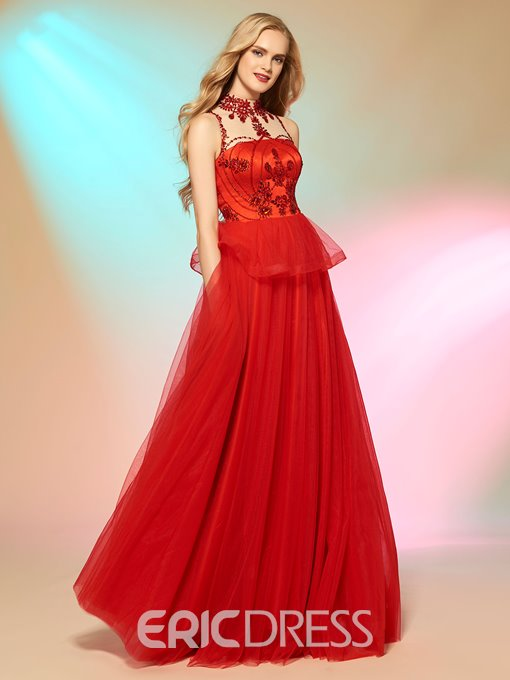 Ericdress Delicate A Line Jewel Neck Beaded Floor Length Long Prom Party Dress