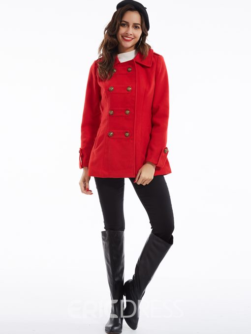 Ericdress Lapel Double-Breasted Overcoat
