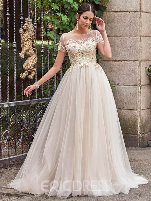Ericdress High Quality Beaded Scoop A Line Wedding Dress