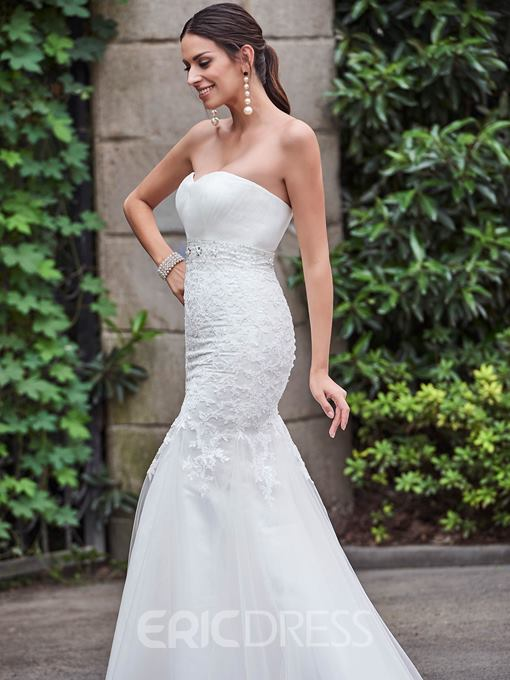 Ericdress Appliques Beaded Sweetheart Mermaid Wedding Dress