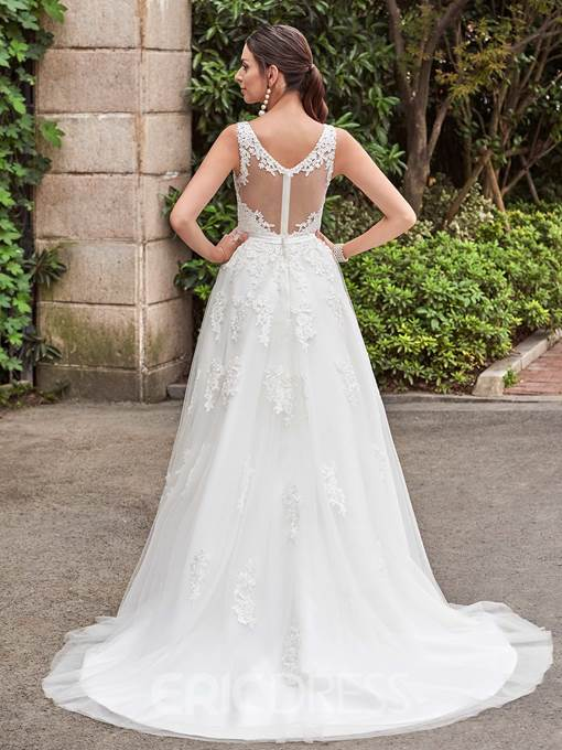 Ericdress Amazing V Neck Appliques A Line Wedding Dress