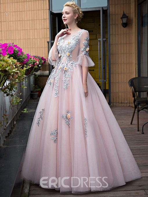 Ericdress Fairy Scoop Neck Ball Gown Appliques Sweep Train Quinceanera Dress