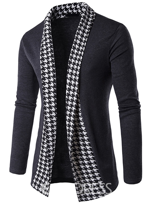 Ericdress Vogue Houndstooth Patchwork Cardigan Men's Knitwear