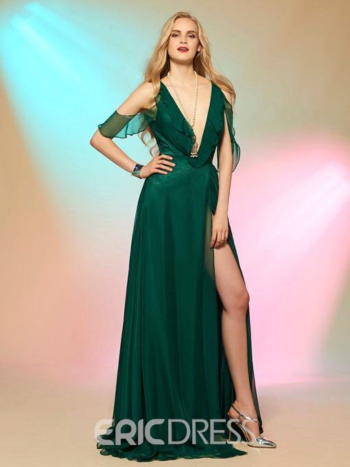 Ericdress Deep V Neck Side Slit Open Shoulder Prom Dress