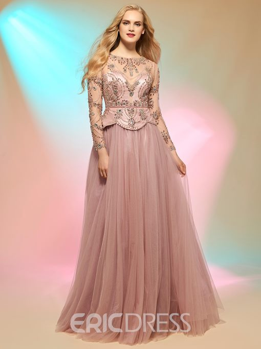 Ericdress Beaded Floor Length A Line Prom Dress With Long Sleeve