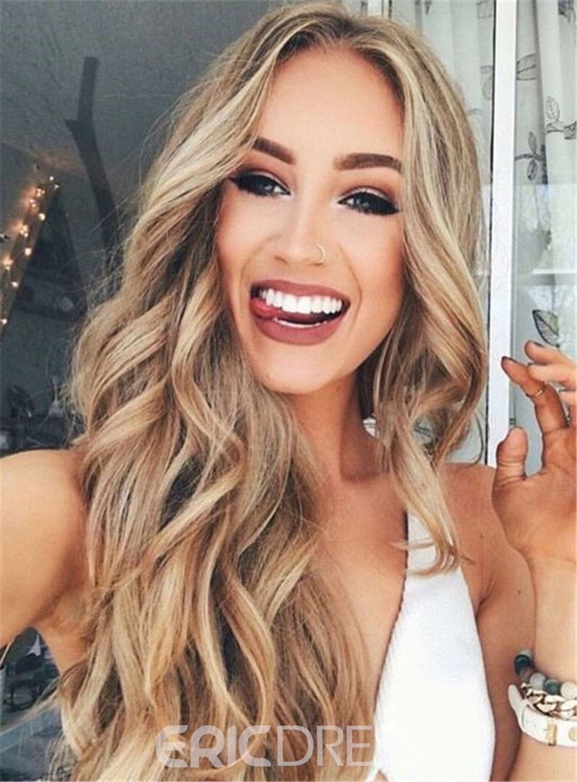 Ericdress Sexy Long Wavy Middle Part Lace Front Human Hair Wigs 24 Inches