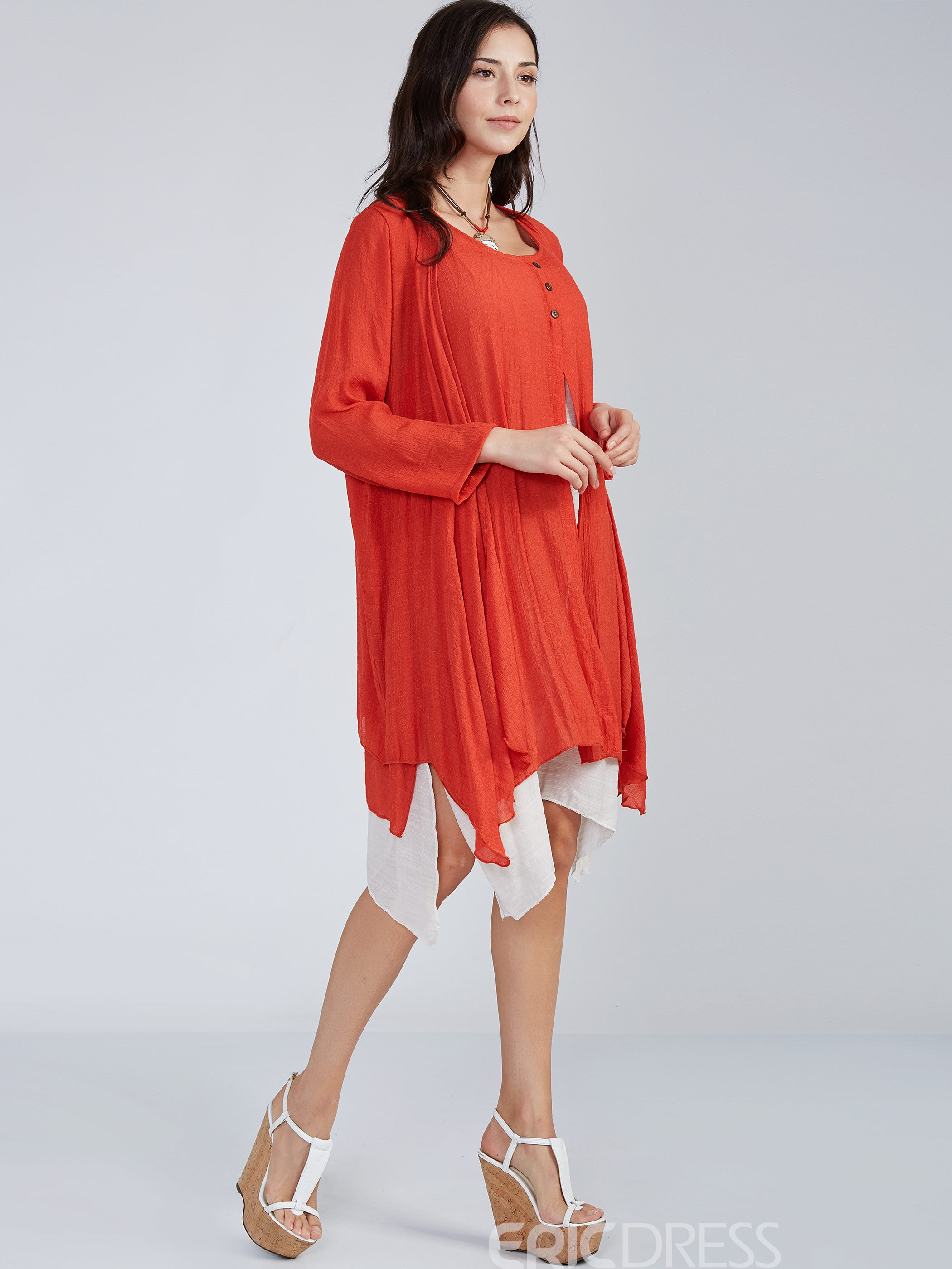 Ericdress Wrapped Cape Day Dress Two Piece Set