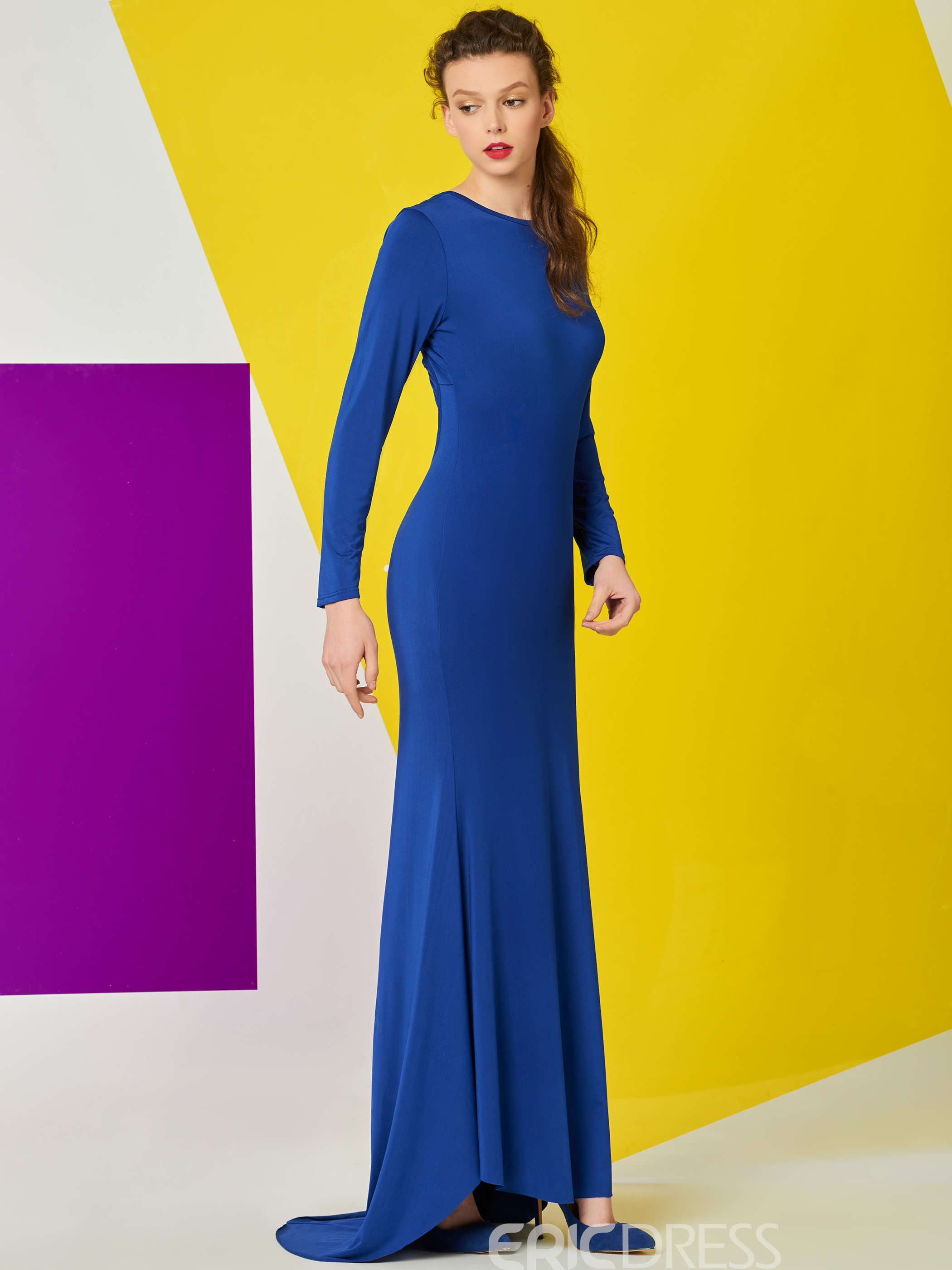 Ericdress Solid Color Trumpet Backless Maxi Dress