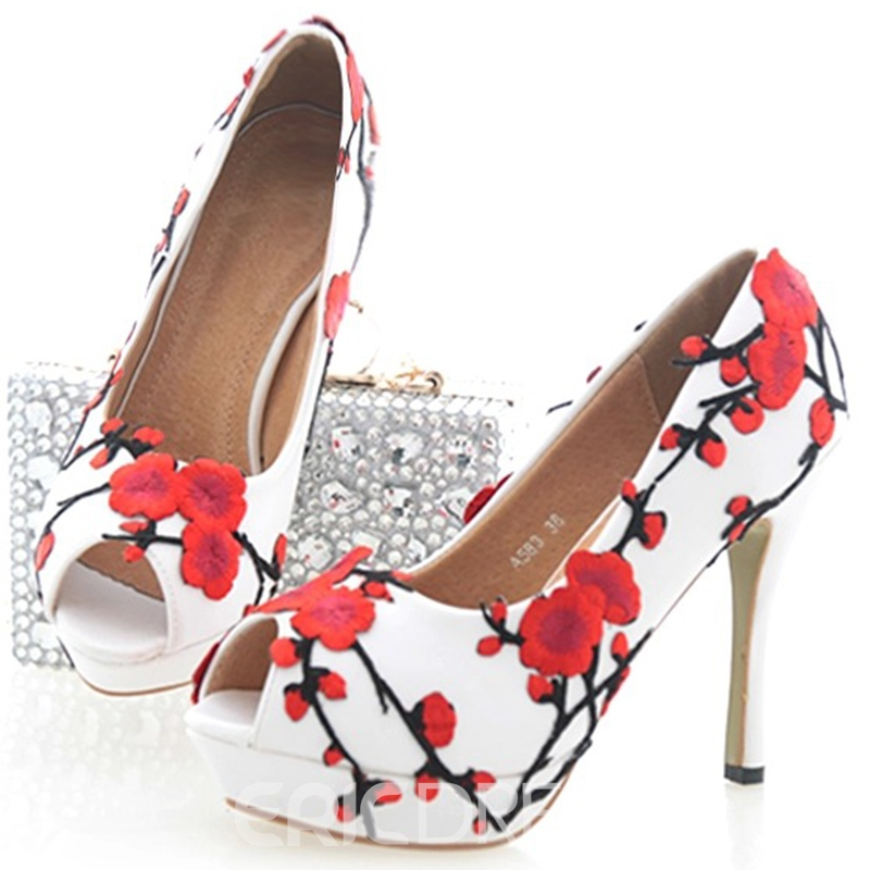 Ericdress Plum Appliques Peep Toe Wedding Shoes