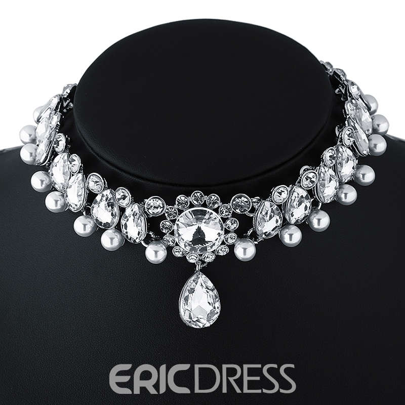 Ericdress Water Drop Pendant Imitation Pearl Choker Necklace