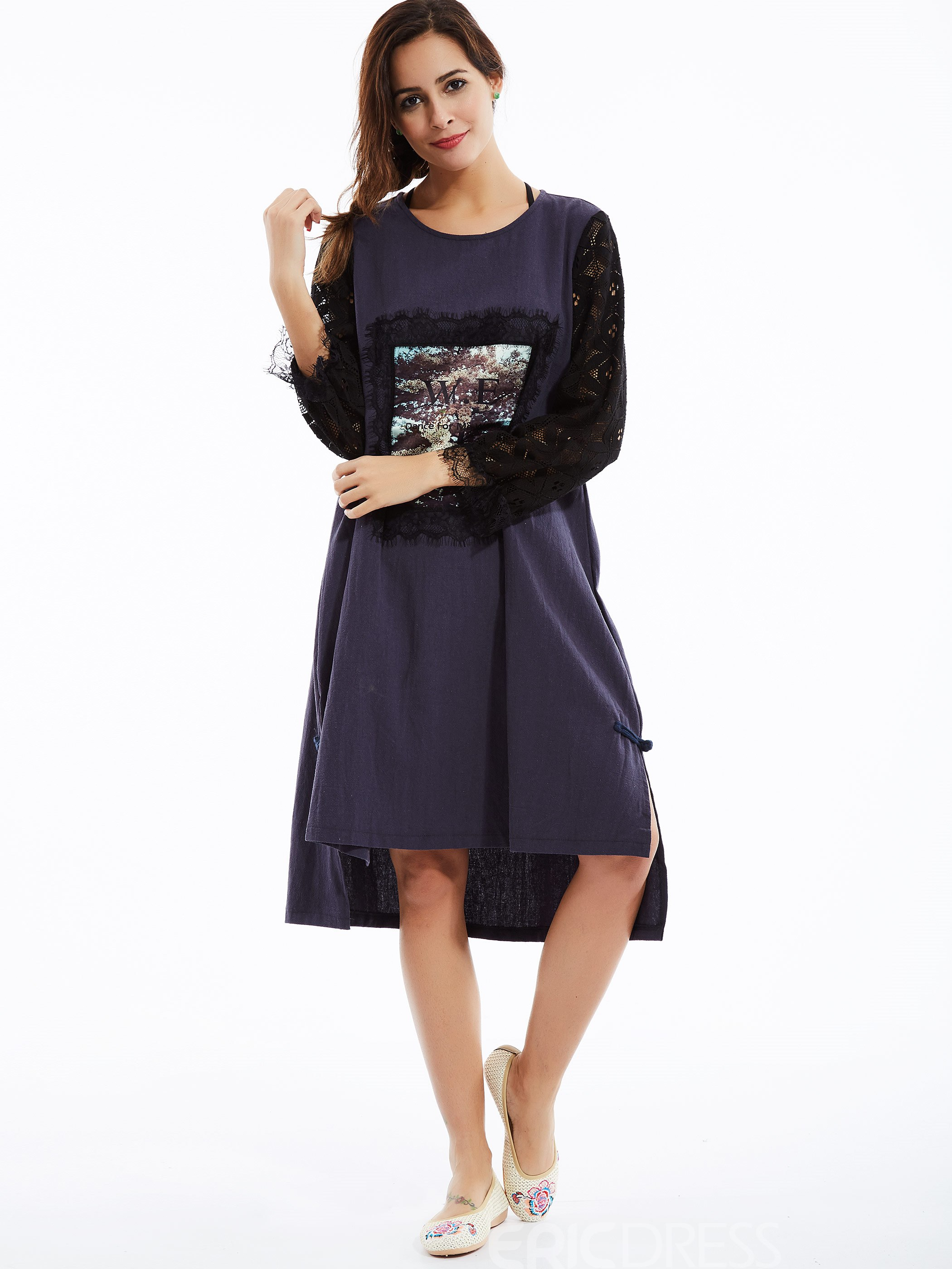 Ericdress Plain Round Neck Lace Patchwork Casual Dress