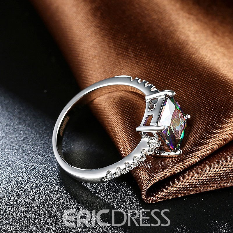Ericdress Square Colorful Zircon Inlaid Ring
