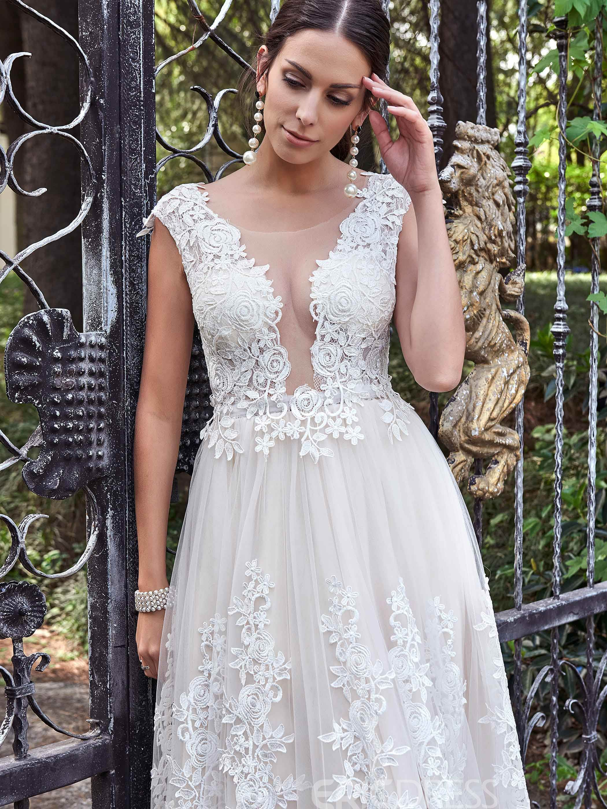 Ericdress Charming Scoop Appliques A Line Backless Wedding Dress