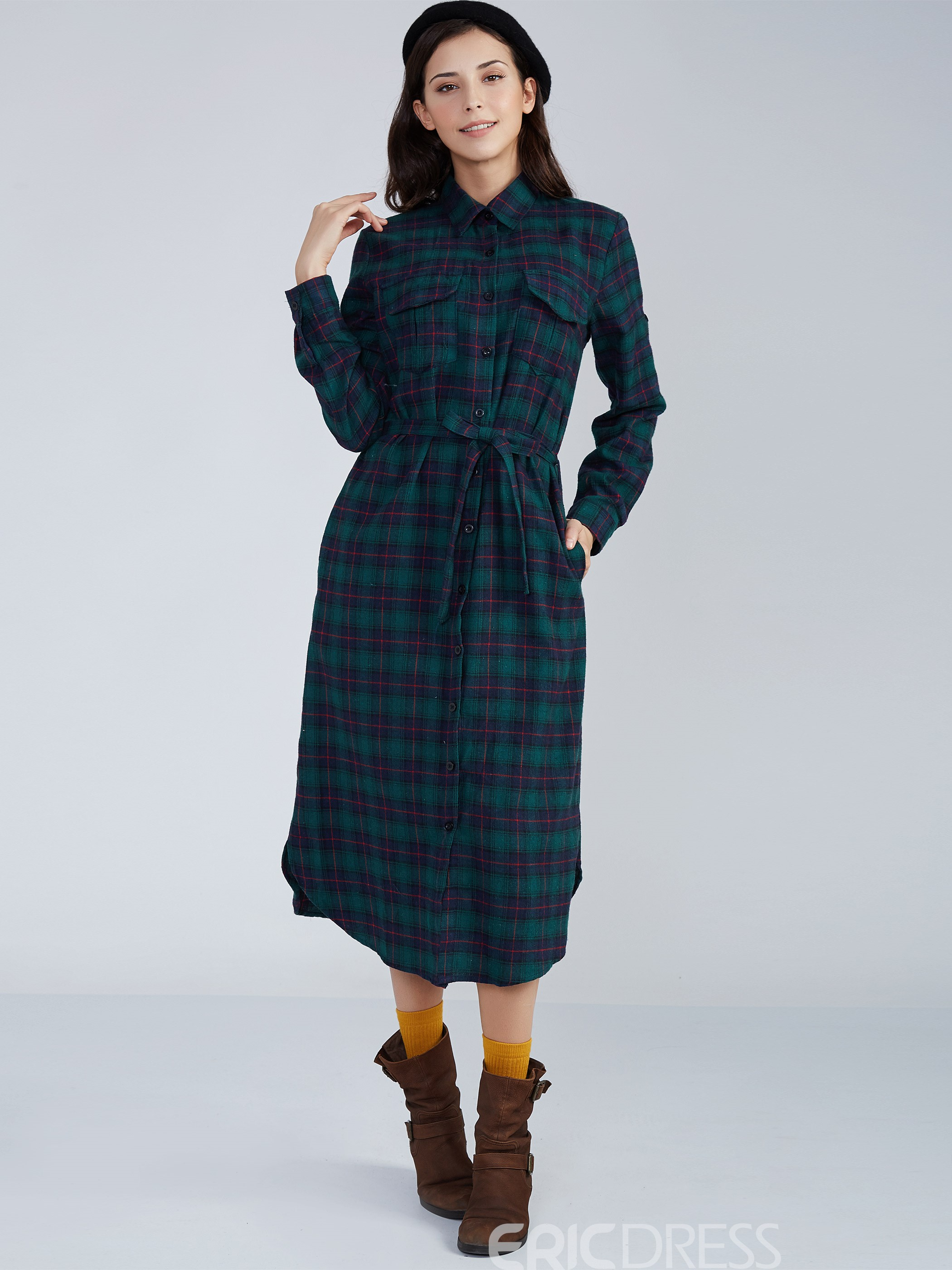 Ericdress Lace-Up Lapel Single-Breasted Plaid Casual Dress