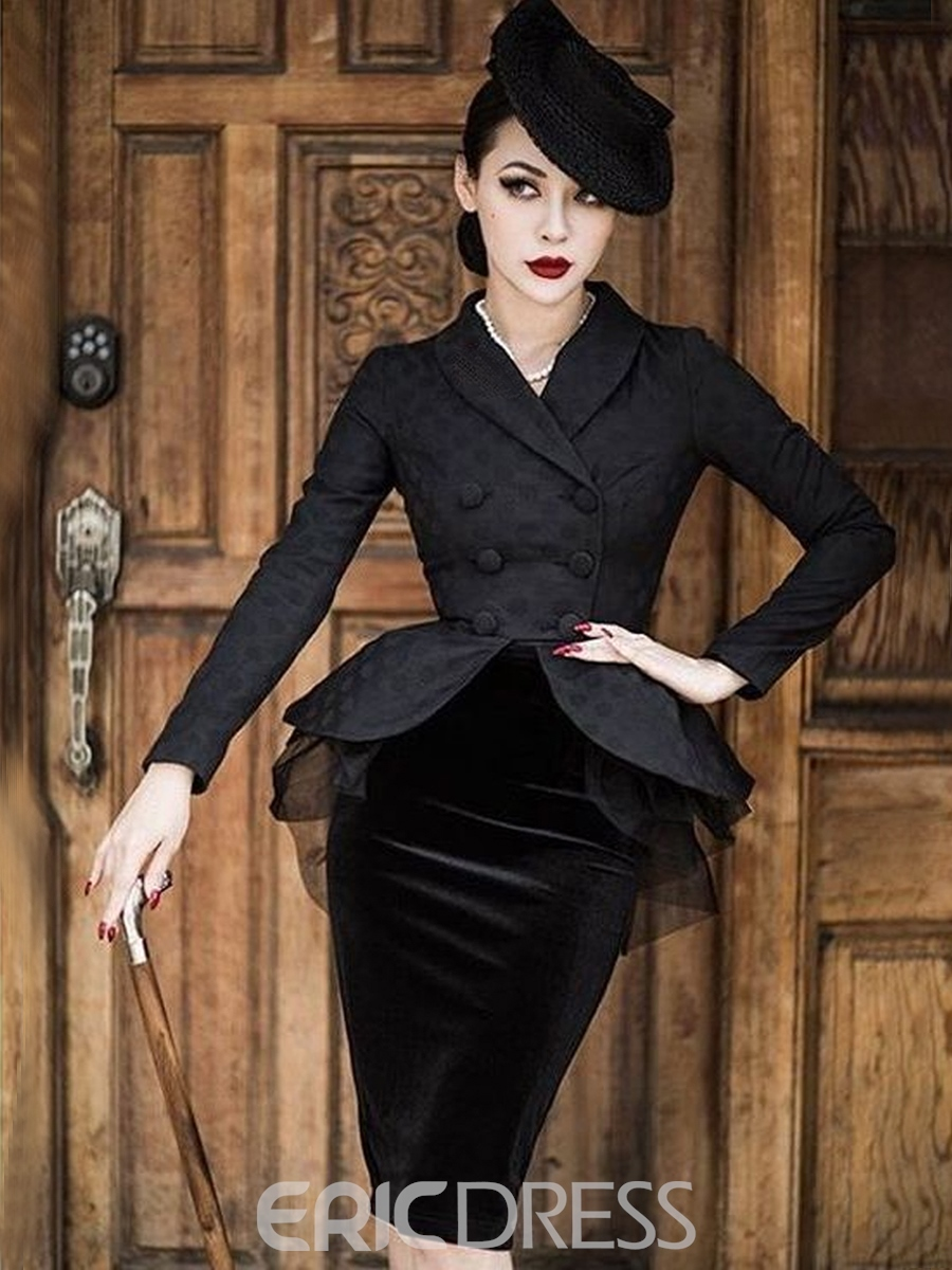 Ericdress Knee Length Bodycon Skirt And Double Breasted Jacket