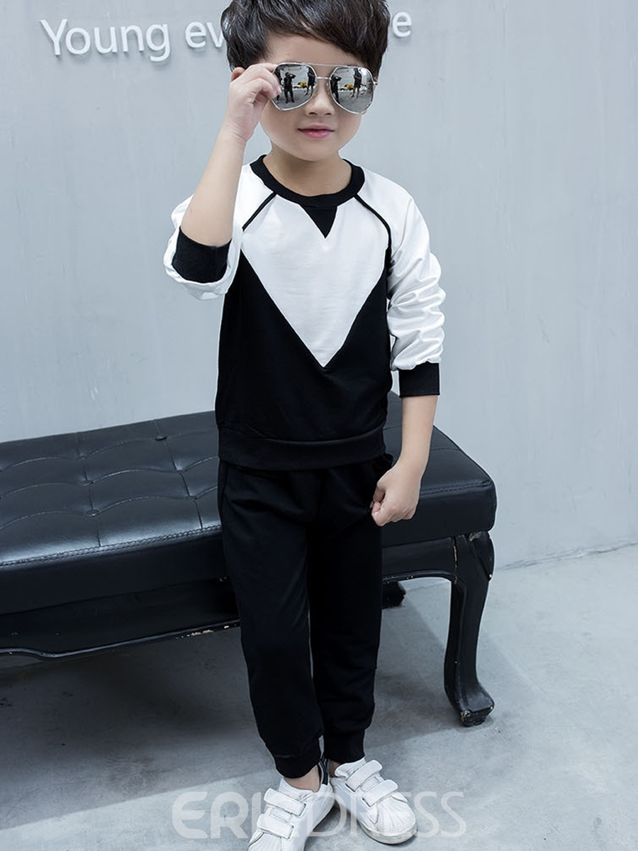 Ericdress Color Block Long Sleeve Casual Boys Outfit