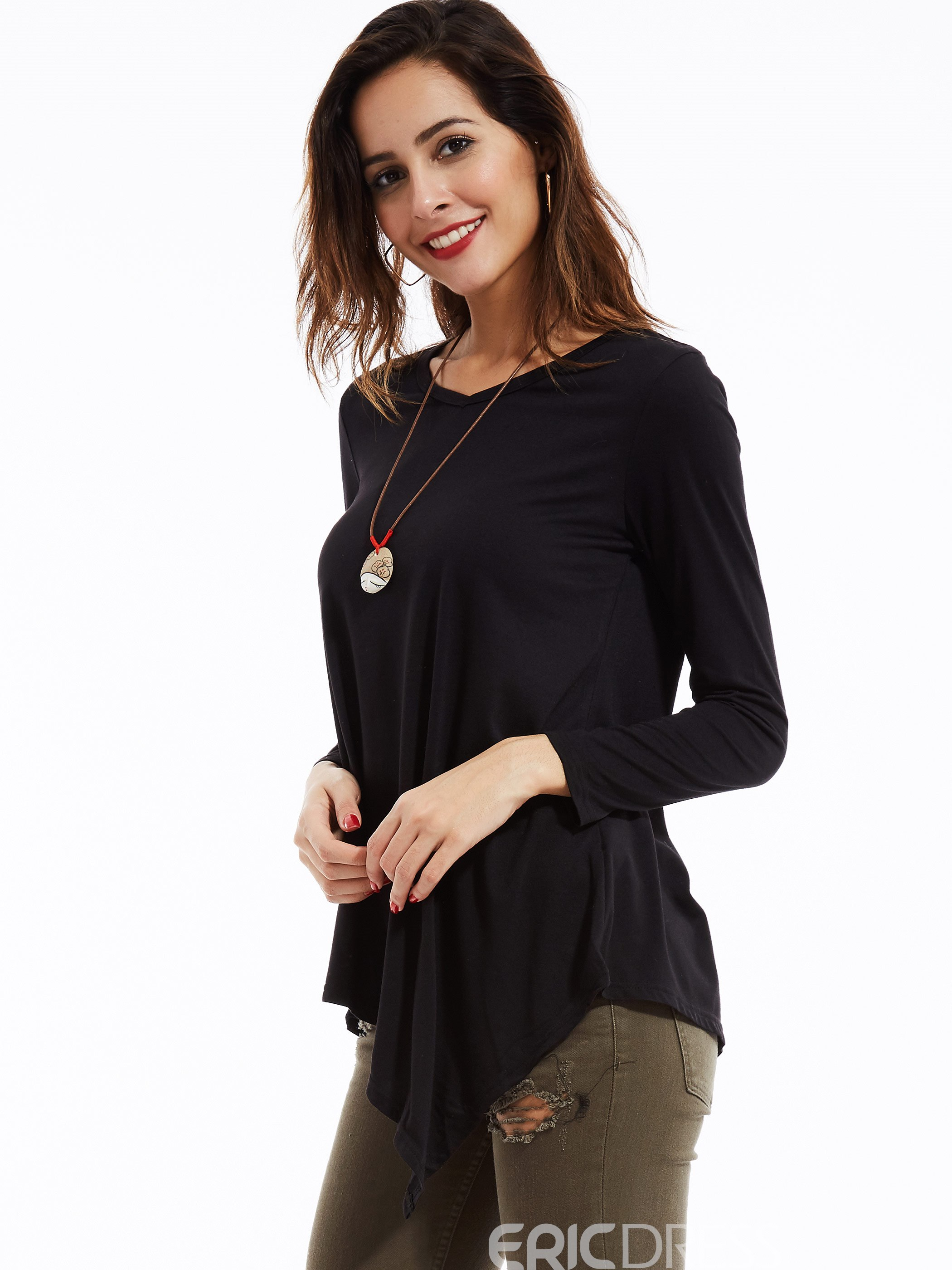 Ericdress Casual Solid Color Irregular Hem T-Shirt