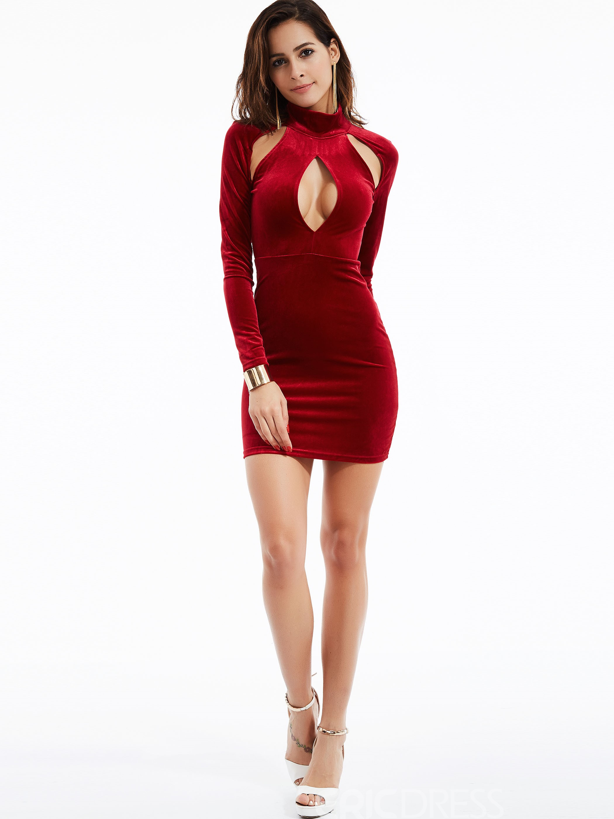 Ericdress Sexy Plain Turtleneck Hollow Sexy & Clubwear Dress