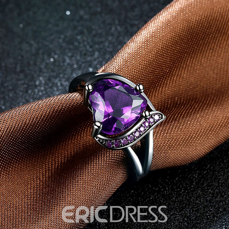 Ericdress Heart-Shaped Purple Ultra Violet Zircon Ring