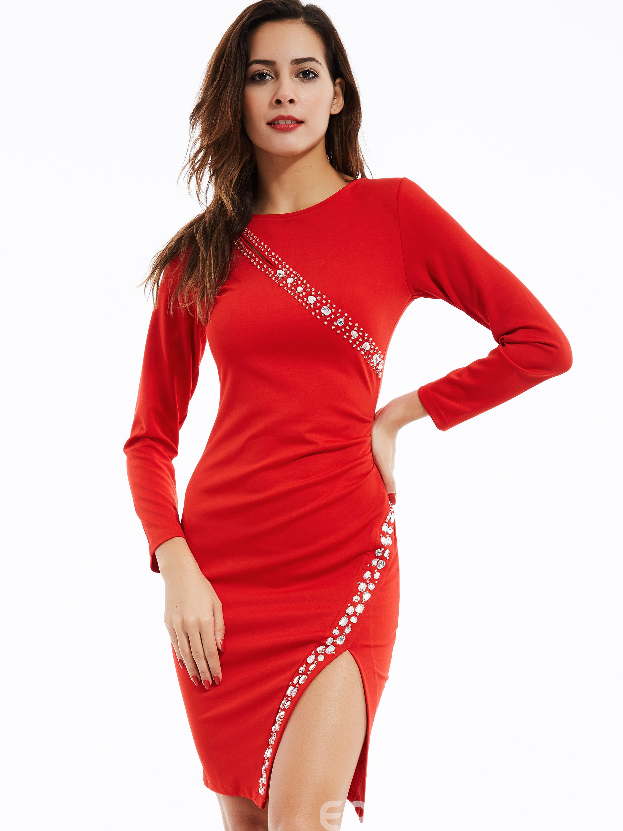 Ericdress Diamond Appliques Plain Round Neck Bodycon Dress