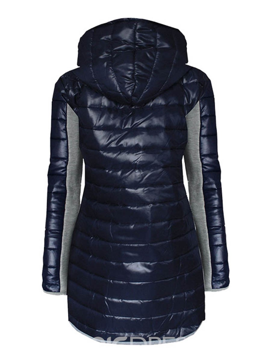 Ericdress Color Block Patchwork Hooded Casual Coat