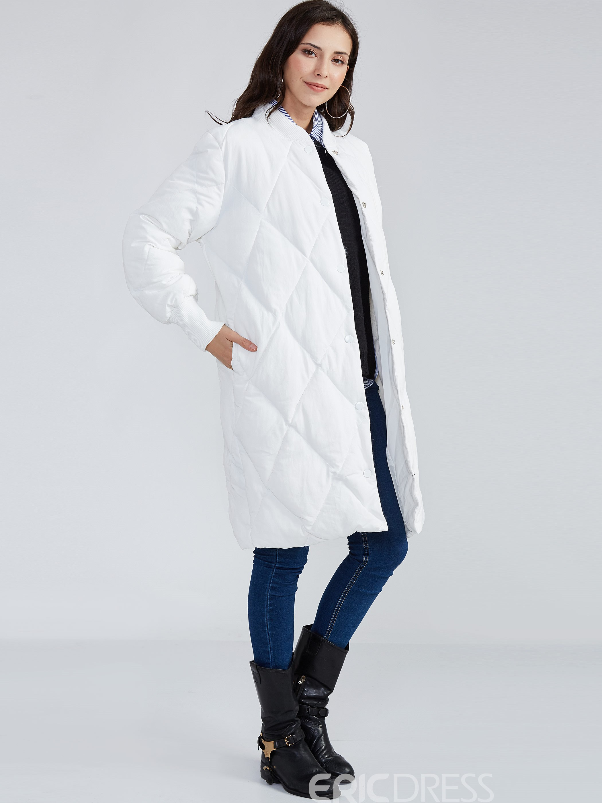 Ericdress Stand Collar Single-Breasted Cotton Coat