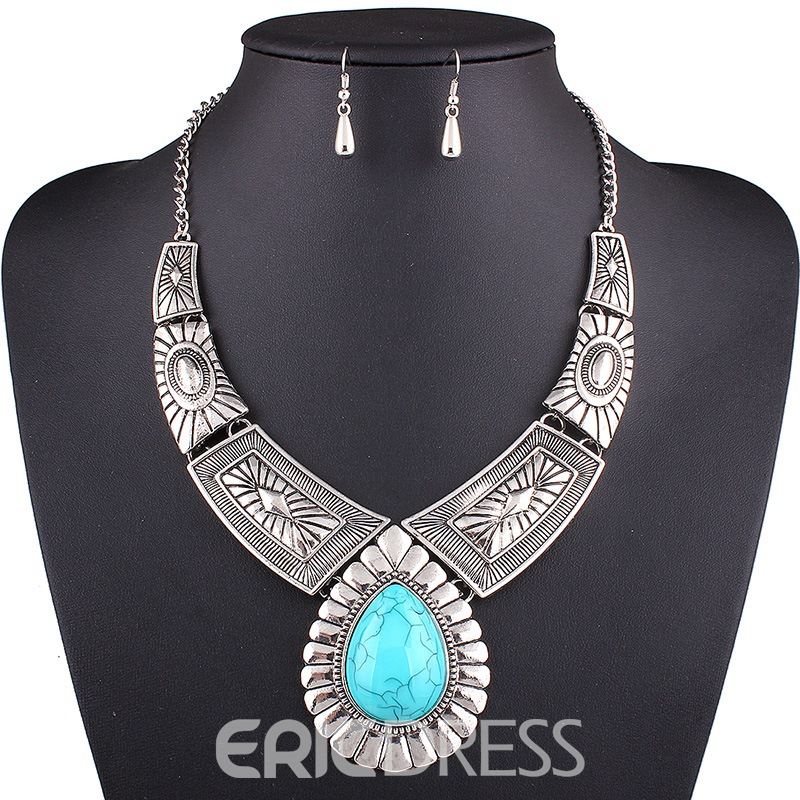 Ericdress Retro Pattern Water Droplets Resin Jewelry Set