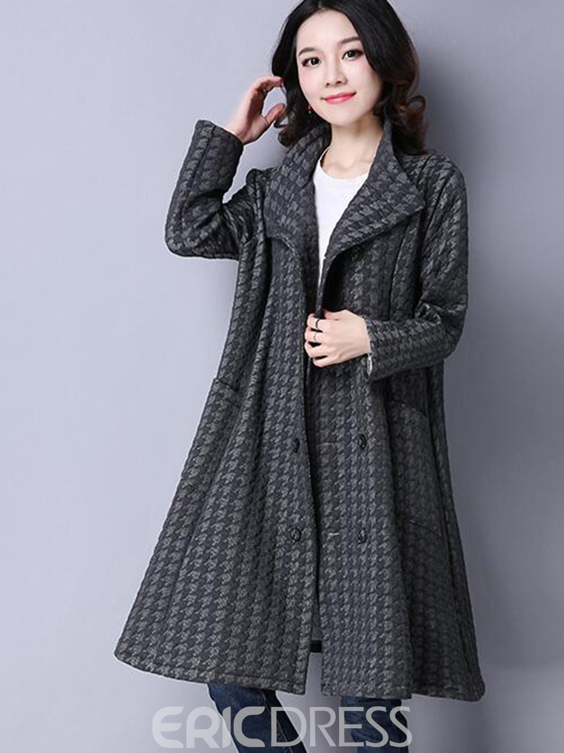 Ericdress Double-Breasted Loose Plaid Coat