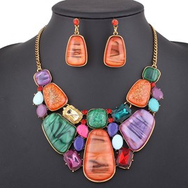 Ericdress Colorful Geometry Artificial Gems Inlaid Alloy Jewelry Set