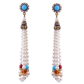 Ericdress Retro Long All-Matched White Pearl Earrings