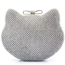 Ericdress Cute Cat Design Diamante Evening Clutch