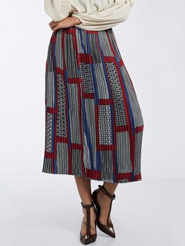 Ericdress Color Block Geometric Pattern Pleated Skirt