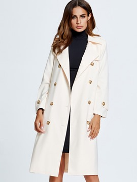 Ericdress Solid Color Double-Breasted Polo Trench Coat