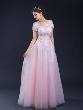 Ericdress A Line Off-the-Shoulder Short Sleeves Appliques Beading Sequins Prom Dress